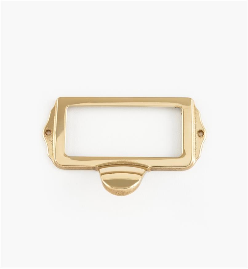 01A5753 - Porte-étiquette à tirette, laiton poli, 75 mm x 35 mm