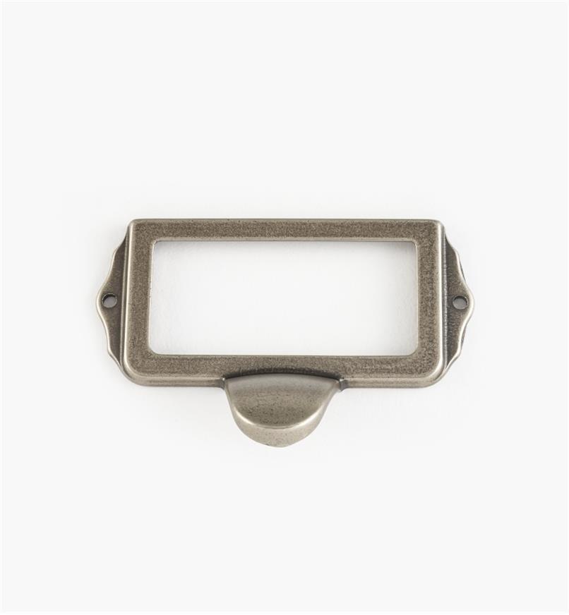 01A5754 - Porte-étiquette à tirette, étain, 75 mm x 35 mm