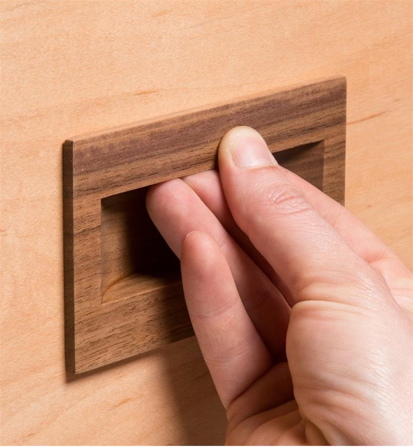02G2031 - 70mm x 70mm Danish Walnut Inset Recess Pull