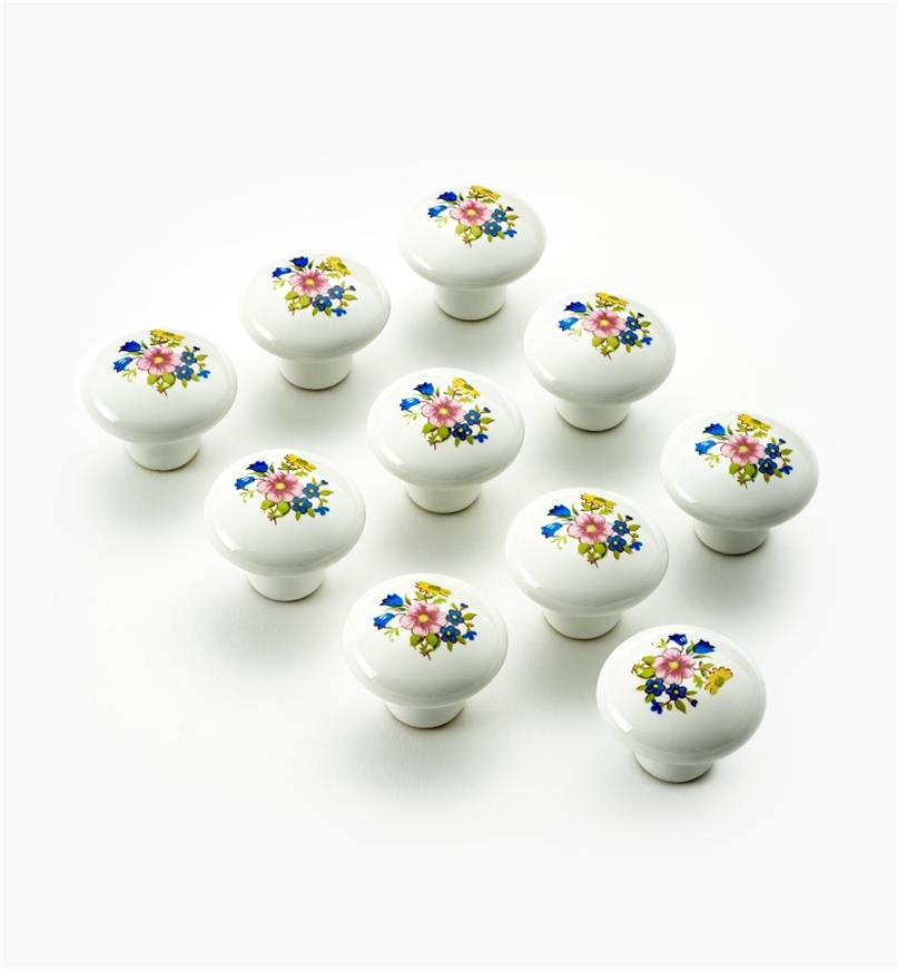 "03W1612 - 1 3/8 "" × 1 1/4"" Bouquet knobs, pkg of 10"