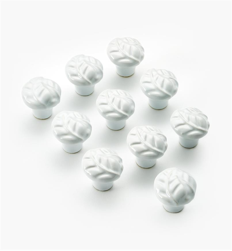 "03W1622 - 1 1/8"" × 1 1/8"" Ceramic Embossed Leaf Knobs, pkg. of 10"
