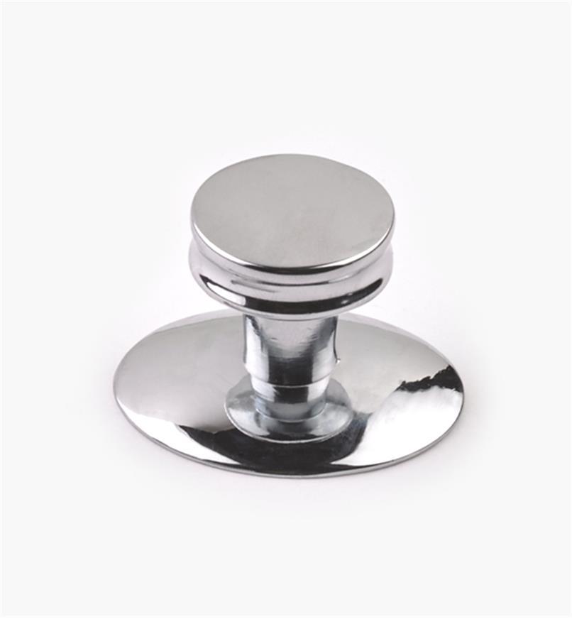 03W2259 - Bouton chromé plat De Novo, 1po, l'unité