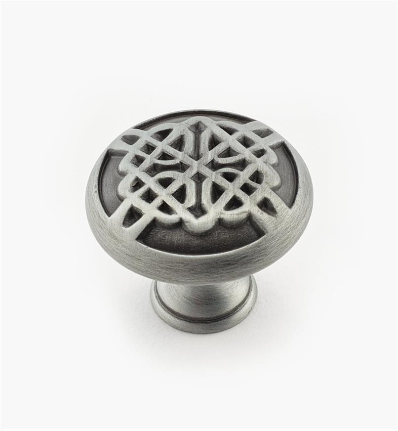 "02W1723 - 1 3/8"" x 1 1/8"" Weathered Pewter Knob"