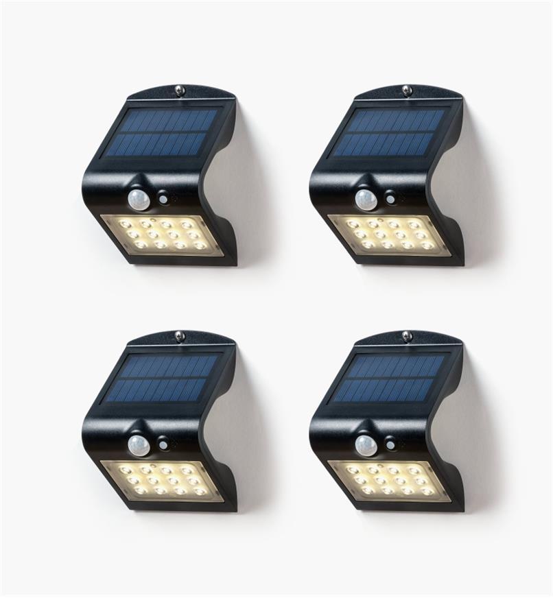 99W7353 - Lampes DEL solaires doubles à détecteur de mouvement, le lot de4