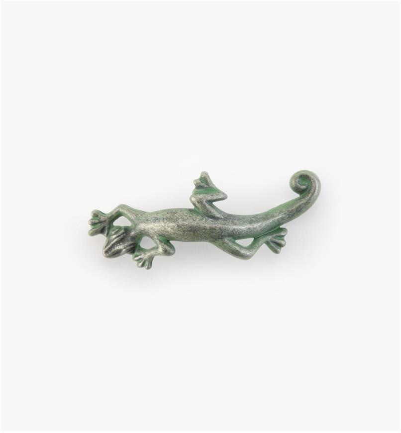 """03W2814 - Whimsical 4 1/4"""" x 1 1/2"""" Verde Gris Lizard Pull, each"""