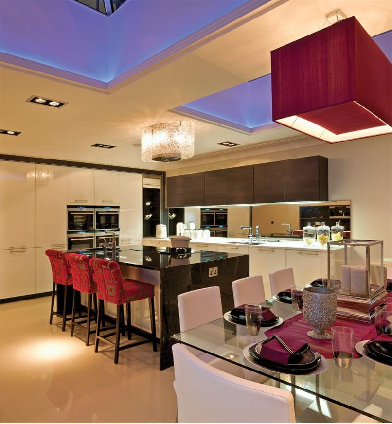 LED lights installed in a kitchen and dining room