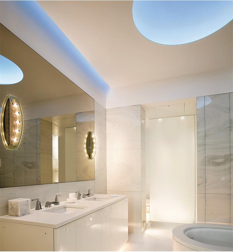 LED lights installed in a bathroom