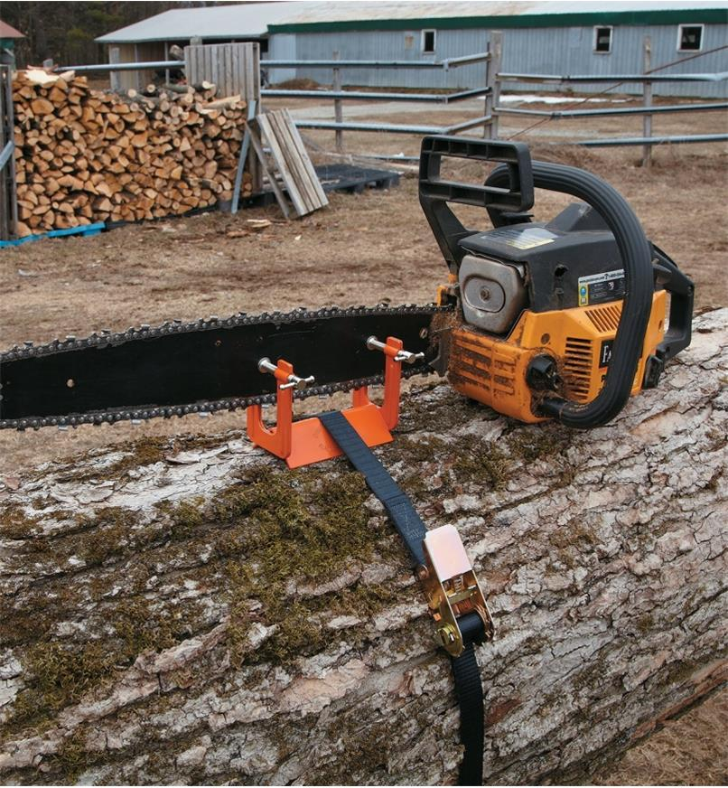 Vise clamped onto a chain-saw blade and tied to a log with the included strap