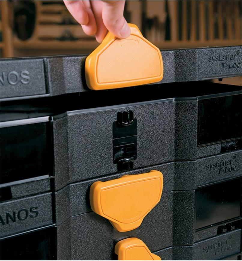 Close-up of latch on Black & Yellow Regular T-Loc Systainer Case