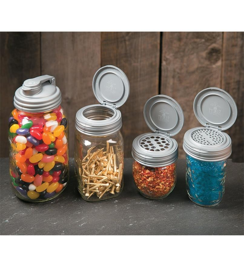 Canning Jar Caps on jars filled with jelly beans, screws, and spices
