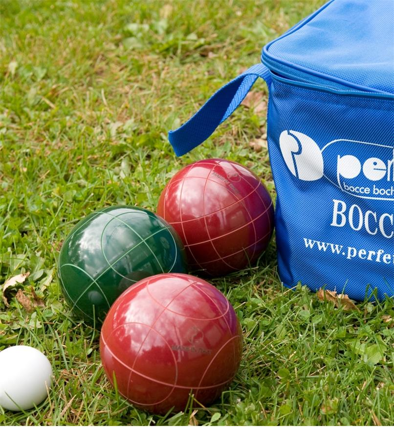 Close-up of bocce balls on grass