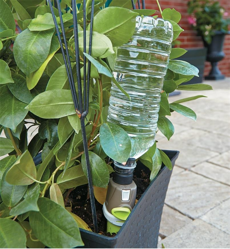 Adjustable-Flow Drip Spike with a water bottle attached inserted in a plant pot