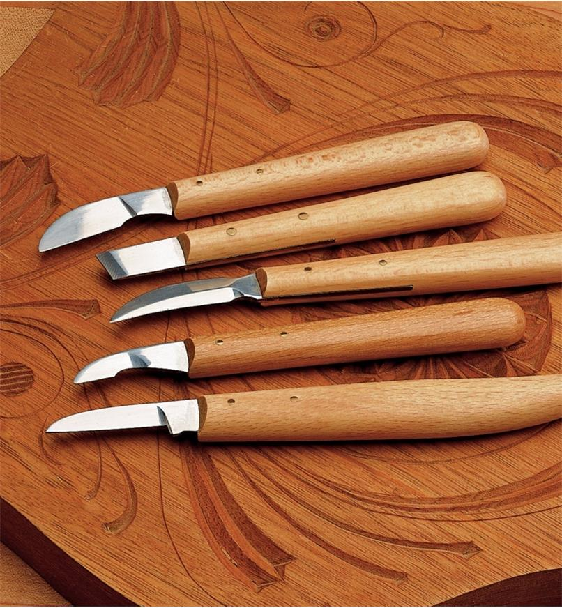 06D0412 - Set of 5 Chip Knives ( #2, #3, #4, #7, #8)