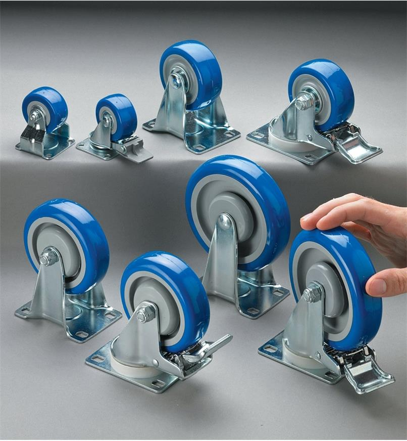 Different sizes of Heavy-Duty Polyurethane Casters displayed