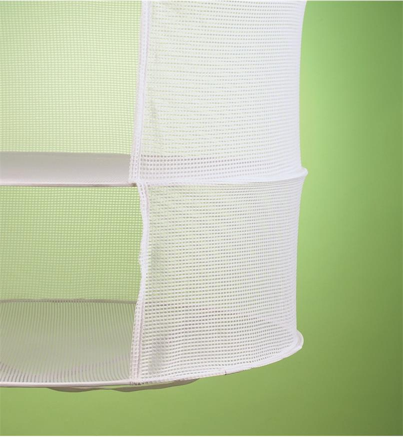Close-up of the nylon mesh sides of a herb dryer