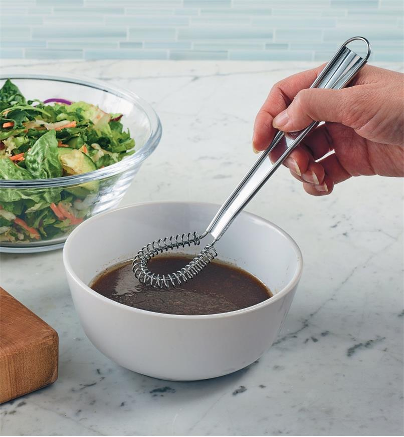Mixing salad dressing with the Flat Mini-Whisk