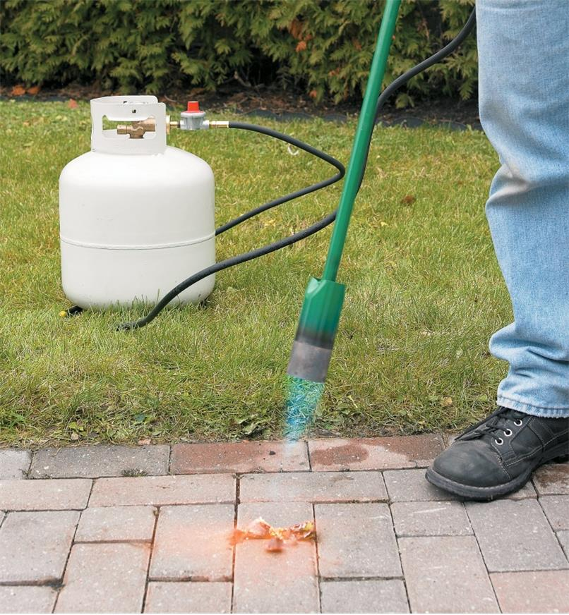 Using a Giant Weed Torch to remove weeds from between patio stones