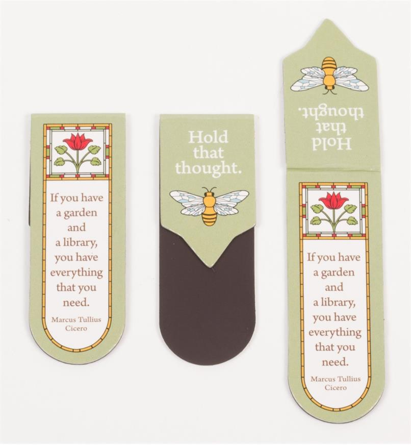 Three Gardening Magnetic Bookmarks, showing both sides when folded and one laid out flat