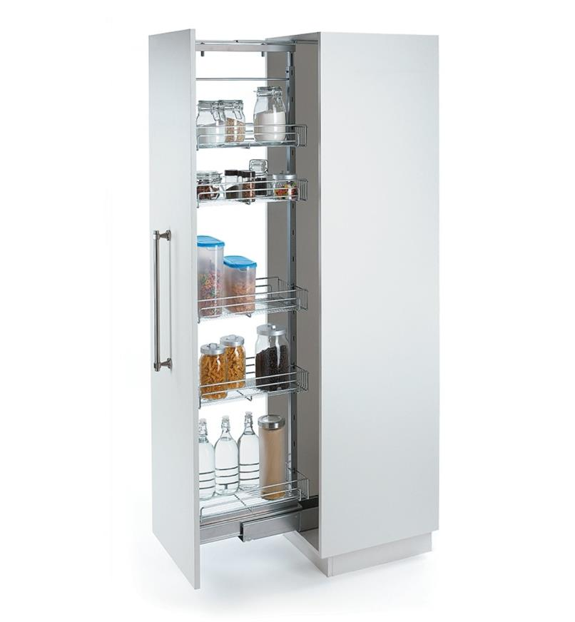 Larder Unit installed in cabinet, holding various food items