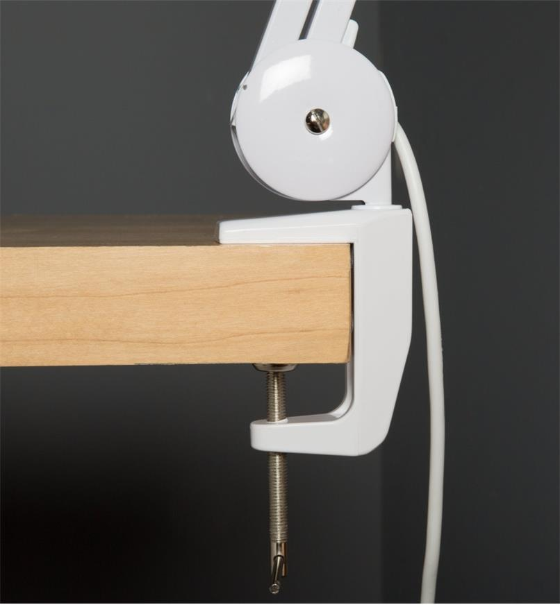 Close-up view of table-mounting clamp