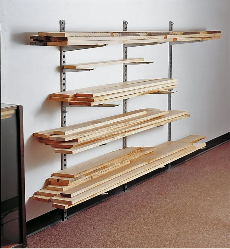 Example of installed lumber storage system holding various sizes of lumber