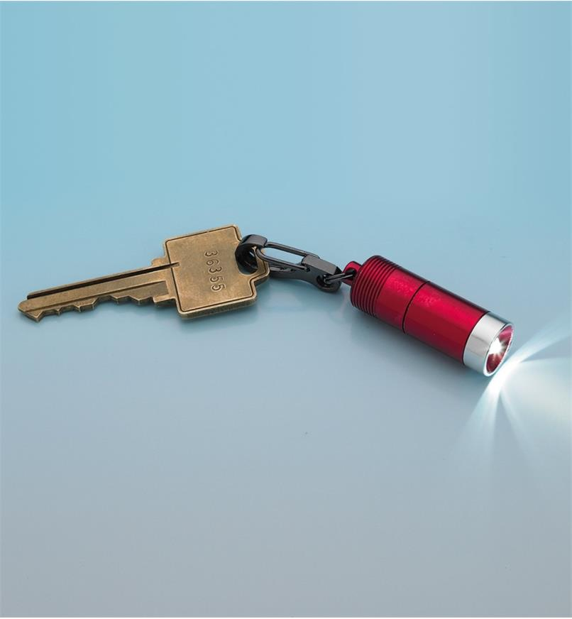 Mini Clip LED Light attached to a key