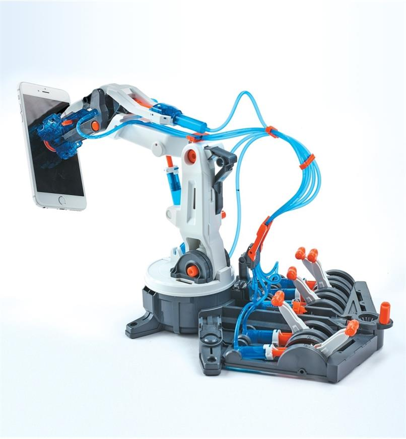 Suction cup on the Hydraulic Robot Arm holds a cell phone