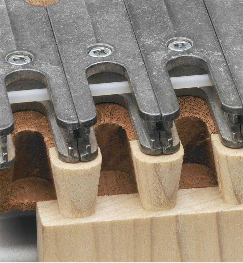 Close-up of half-blind joints