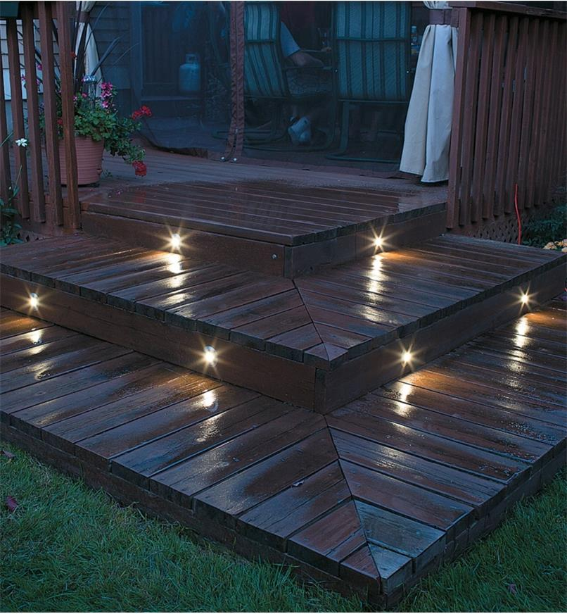 Example of Mini Recessed LED Lights installed on deck steps