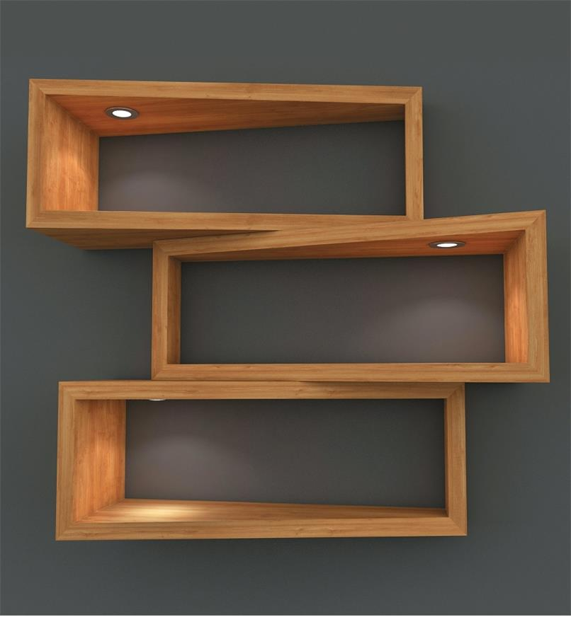 Example of Mini Recessed LED Lights installed in floating shelves