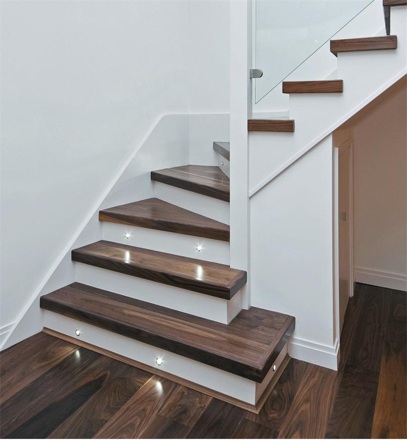 Example of Mini Recessed LED Lights installed in stairs