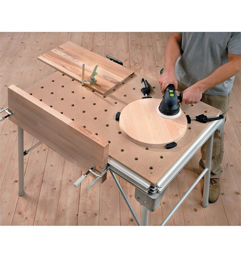 Sanding a round project that is clamped to the MFT/3 Multifunction Table