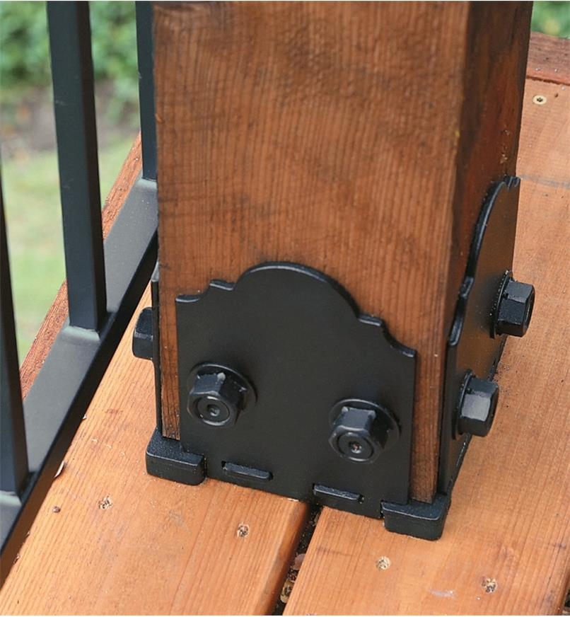 Ozco 6x6 Post Base used on a deck post