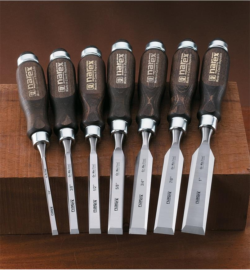 "10S0977 - Narex Classic Bevel-Edge Chisels, Set of 7 (1/4"" to 1"")"