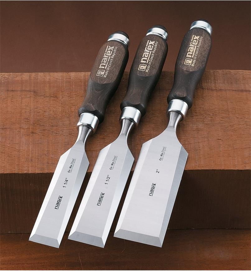 "10S0978 - Narex Classic Bevel-Edge Chisels, Set of 3 (1 1/4"" to 2"")"