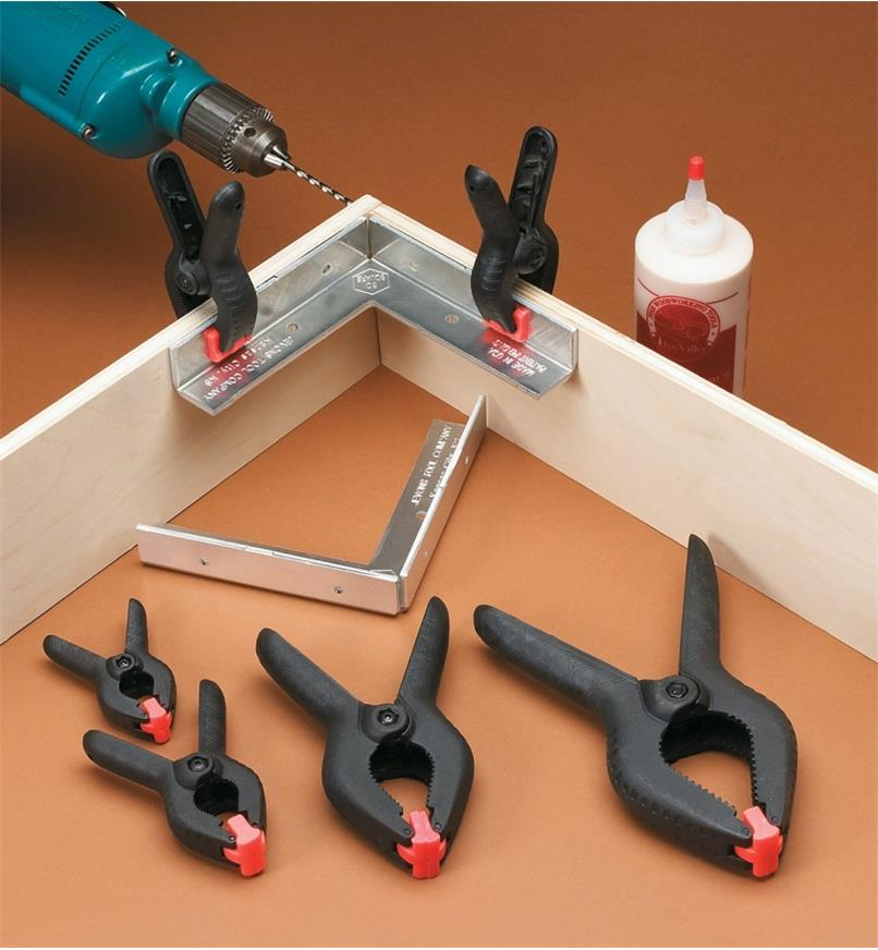 Plastic Spring Clamps used to clamp a corner joint