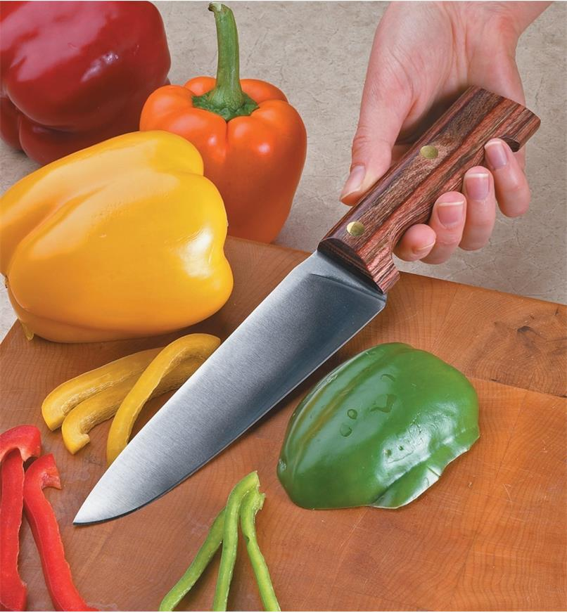 Cutting peppers with the Peasant Chef's Knife