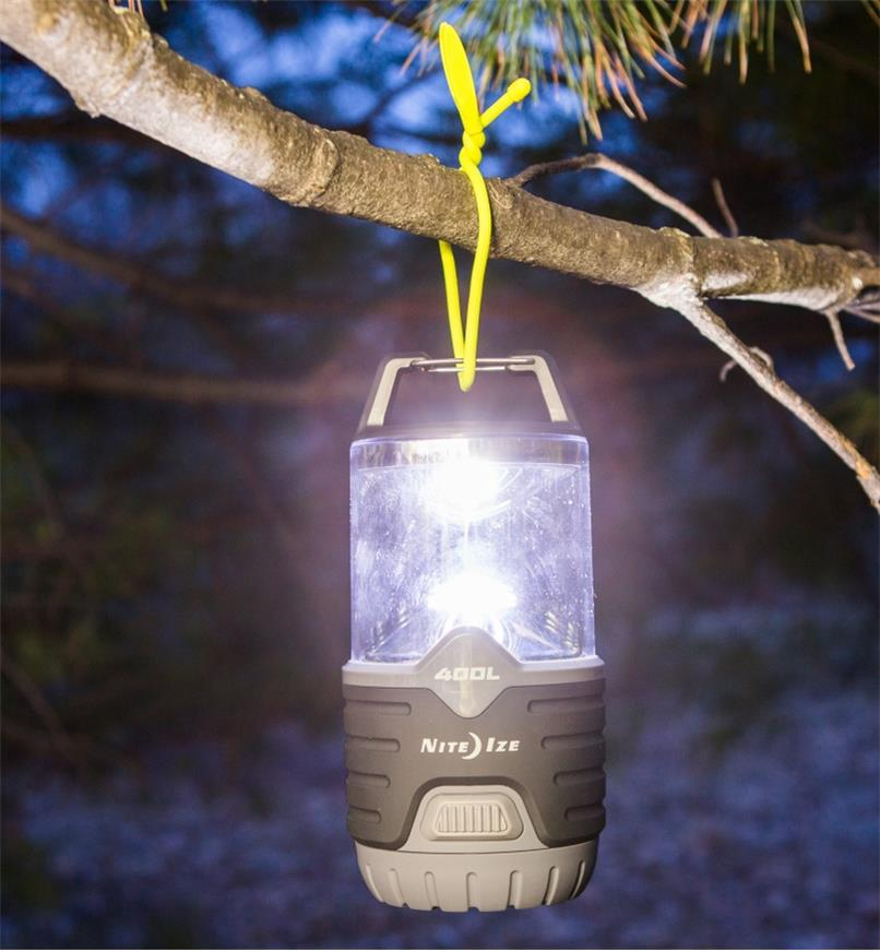 400 lm Nite Ize Battery-Powered Radiant Lantern hanging from a tree