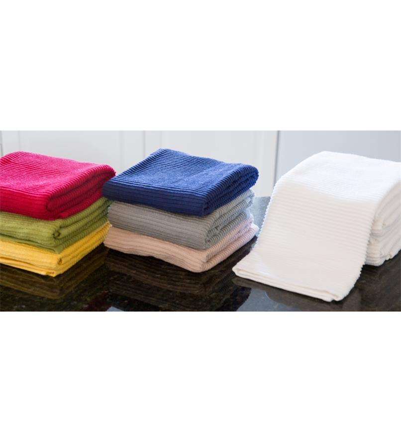 All three sets of Ripple Towels folded and stacked