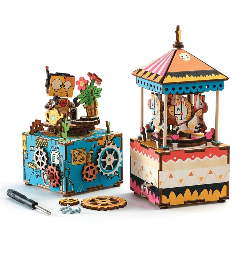 Completed robot and carousel music boxes