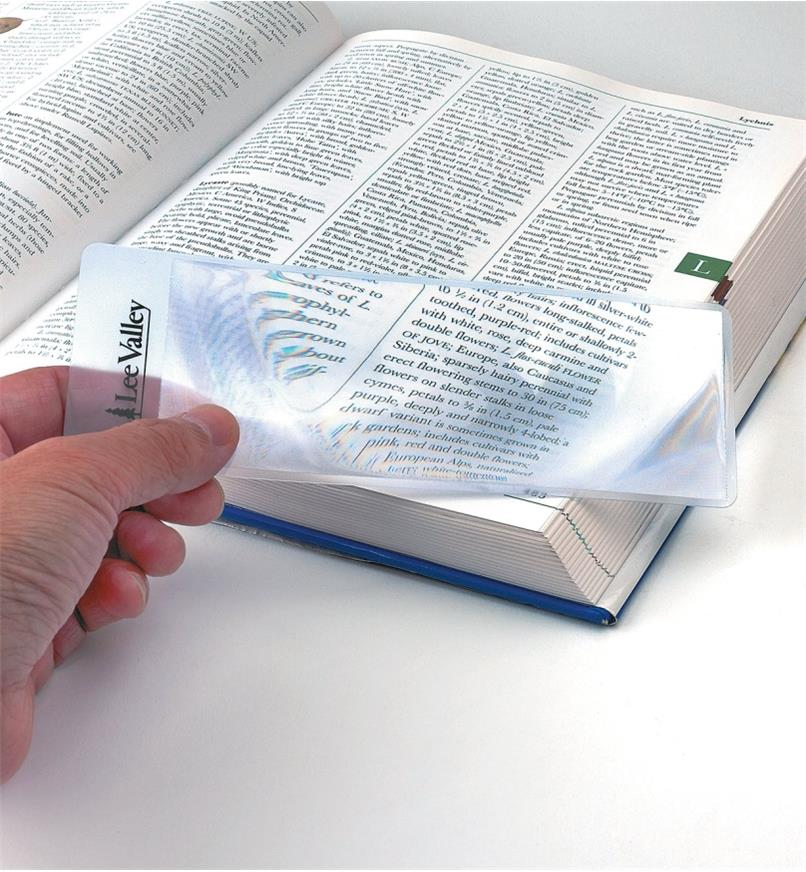 Enlarging text in a book with a Bookmark Magnifier