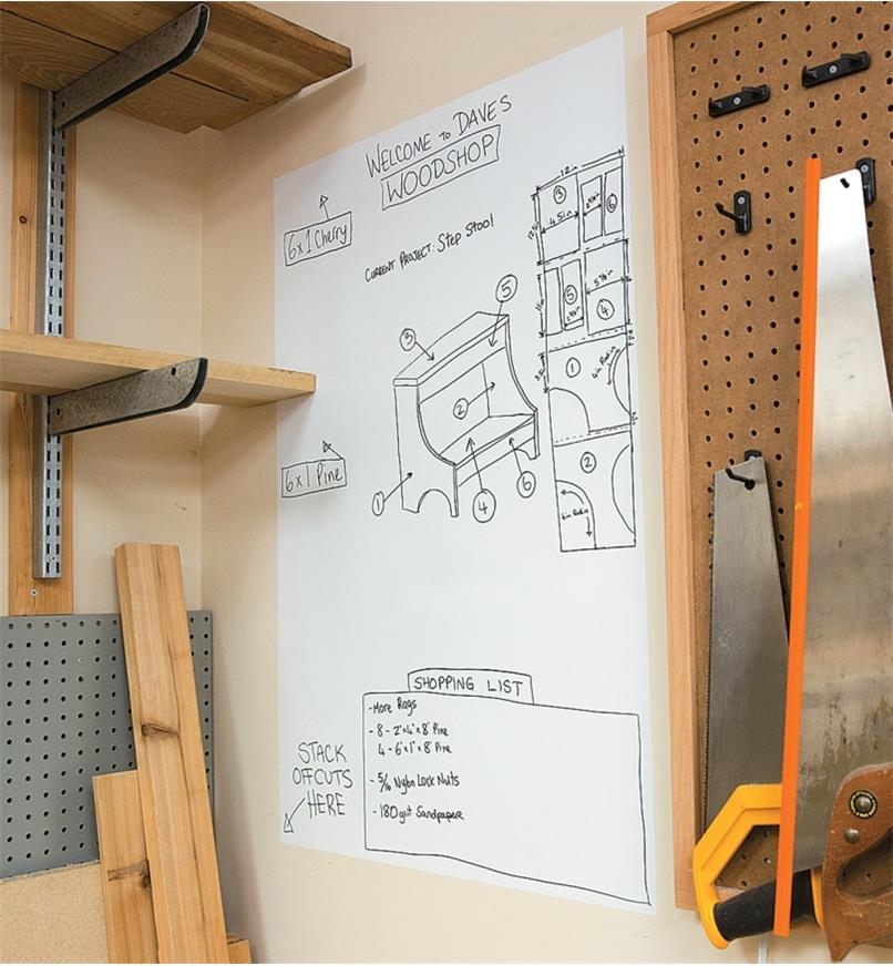 Peel-and-Stick Dry-Erase Sheet adhered to the wall in a workshop