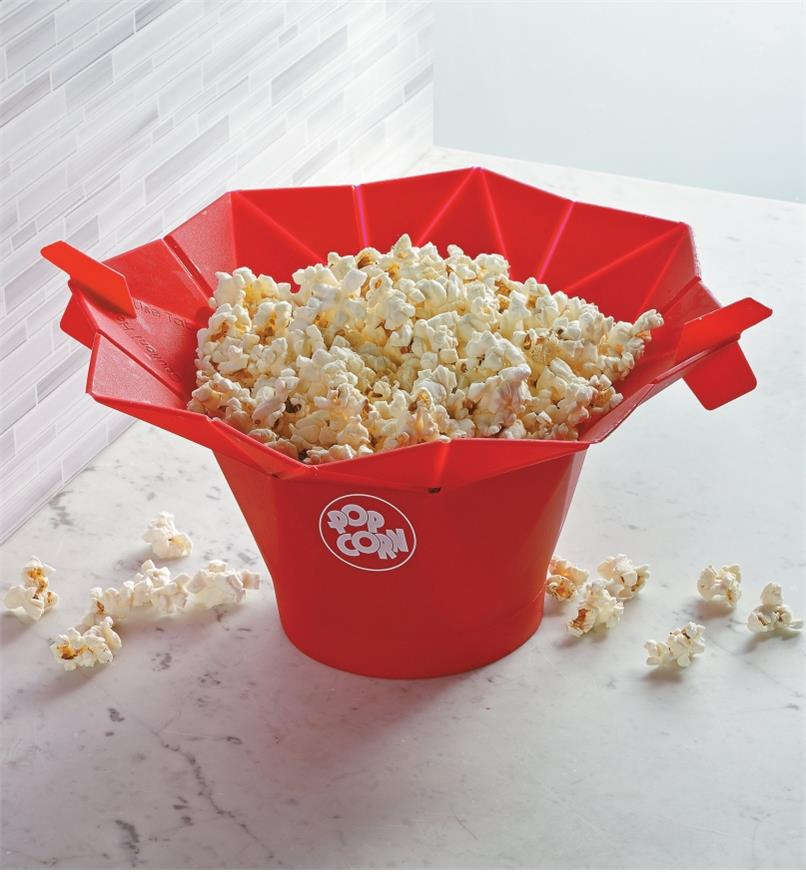 Poptop Popcorn Popper filled with popped popcorn