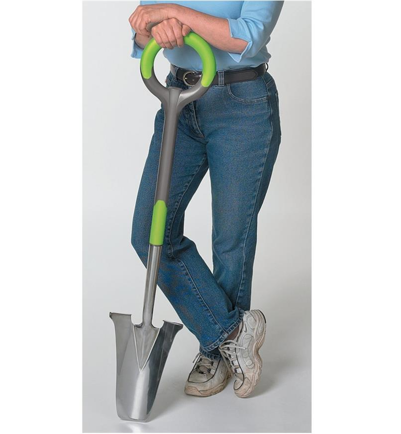 A woman leaning on the Transplant Spade