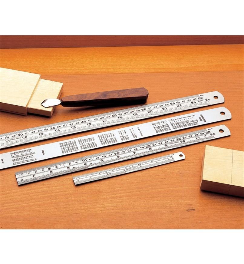 "06K2050 - Stainless Steel Cabinetmaker's Rule, set of 4 (24"",18"",12"",6"")"