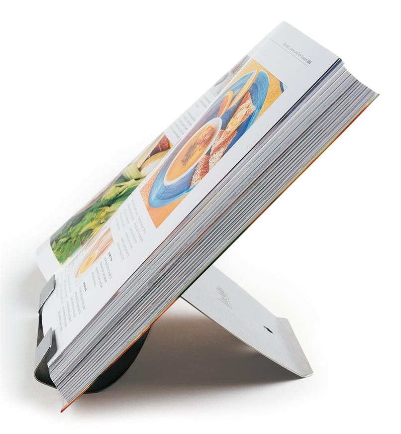 Stainless-Steel Book Holder holding a cookbook