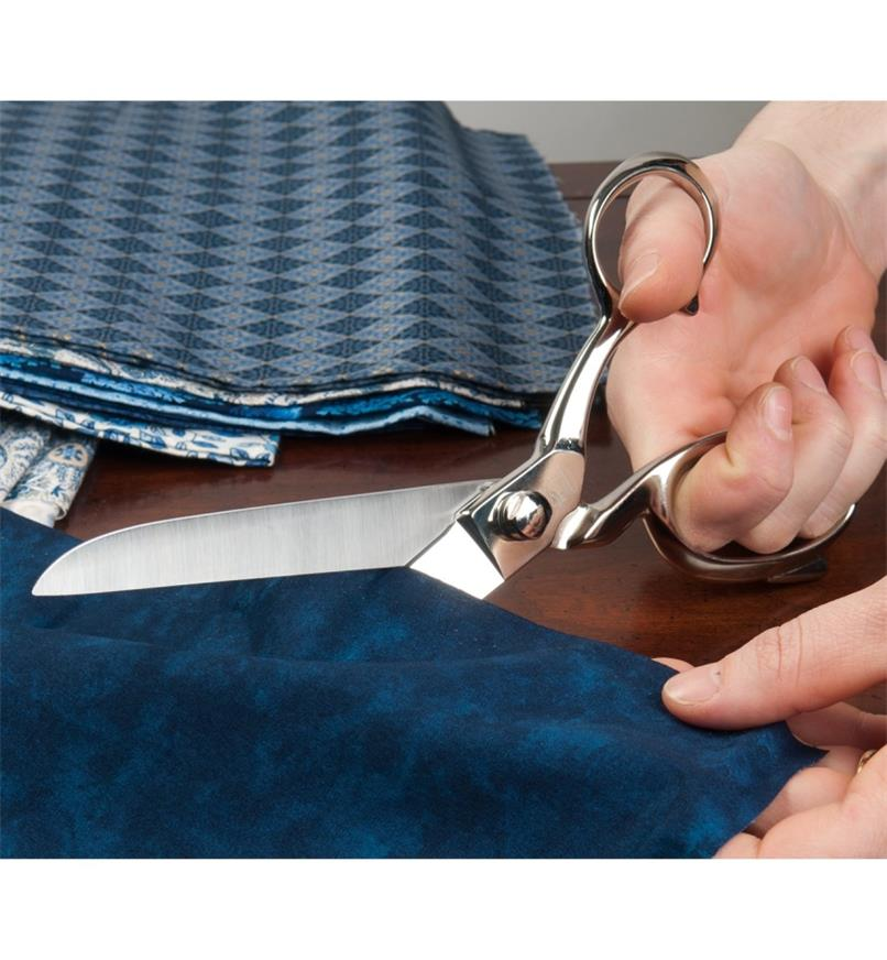 Using Tailor's Shears to cut fabric