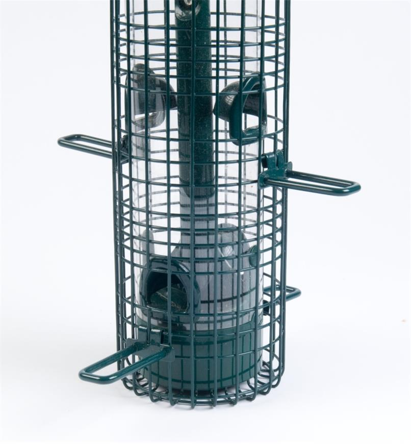 Close-up of open shroud on Squirrel Buster Classic Feeder