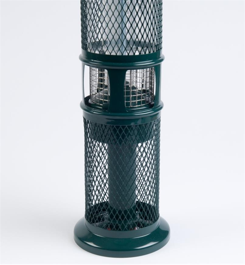 Close-up of open shroud on Squirrel Buster Peanut  Feeder