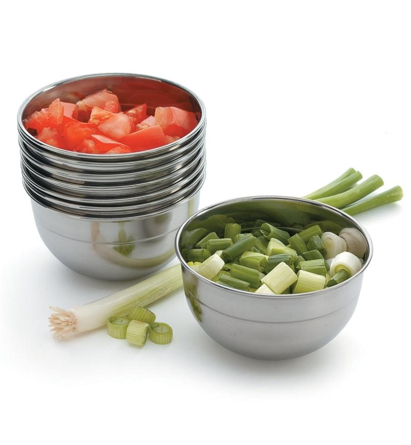 Stainless-Steel Bowls filled with chopped tomatoes and onions